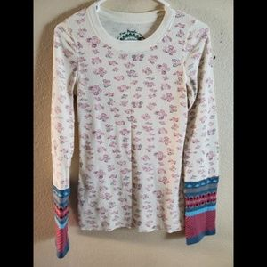 Free People Waffle Knit Butterfly Cuff Thermal Top